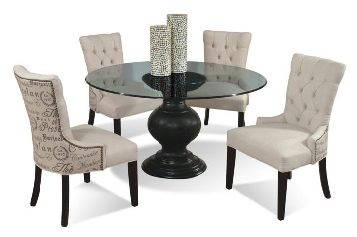5-Piece Contemporary Round Glass Table and Upholstered Chairs Set by ...