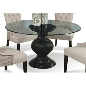 "54"" round glass dining table with pedestal basecmi 