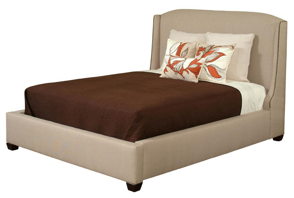 King Fully Upholstered Wing Style Bed