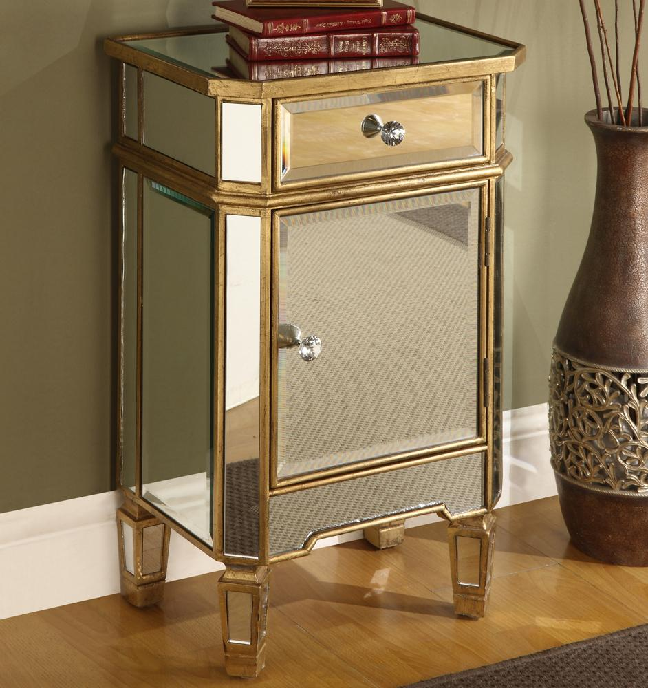 Mirrored Accent Cabinet With Gold Wood Finish By Coast To