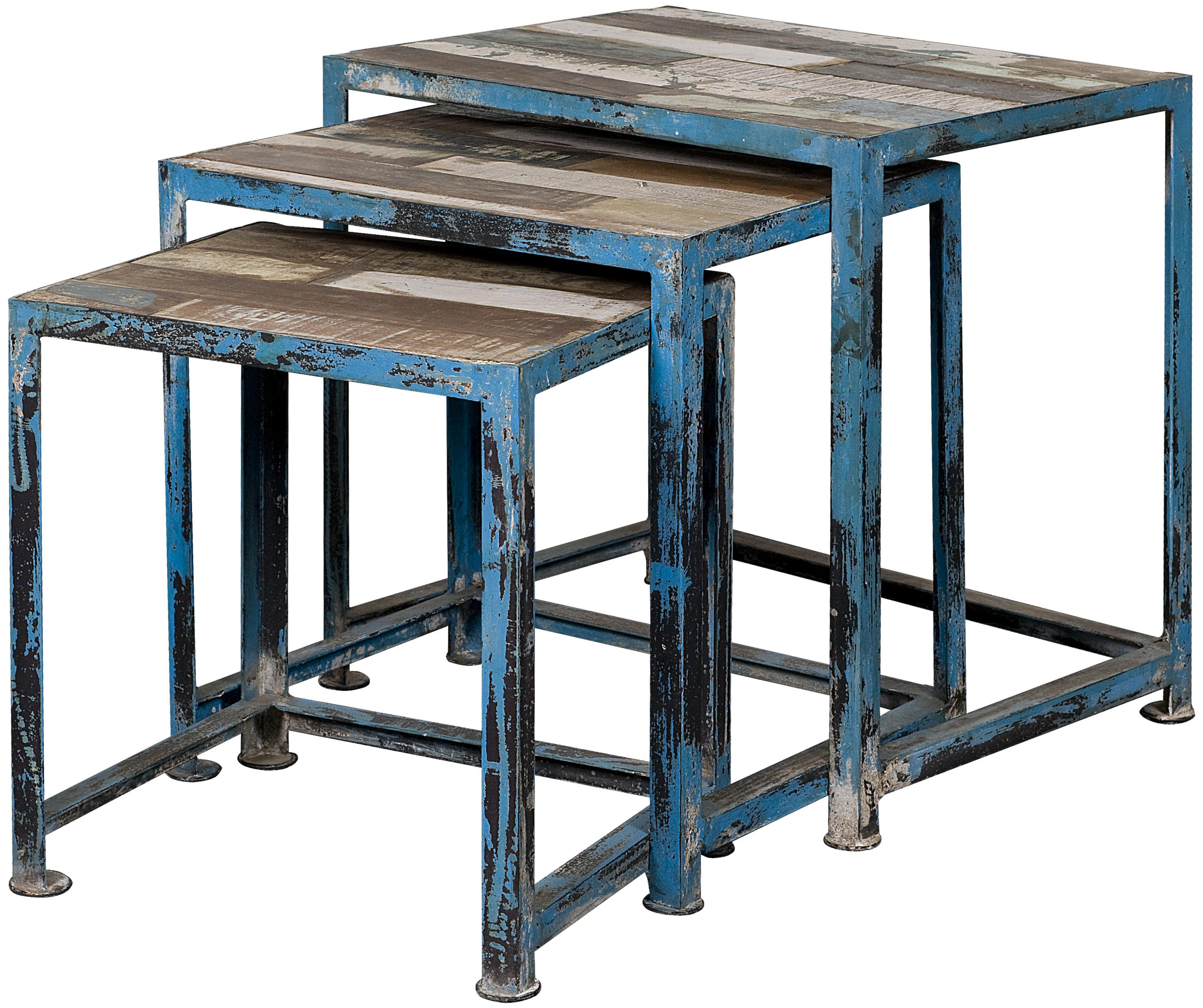 Three Reclaimed Wood U0026 Iron Nesting Tables With Distressed Multi Color  Finish
