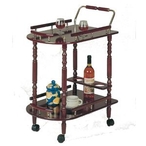 Serving Cart with Brass Accents