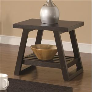Casual End Table with Slatted Bottom Shelf