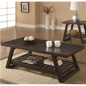 Casual Coffee Table with Slatted Bottom Shelf
