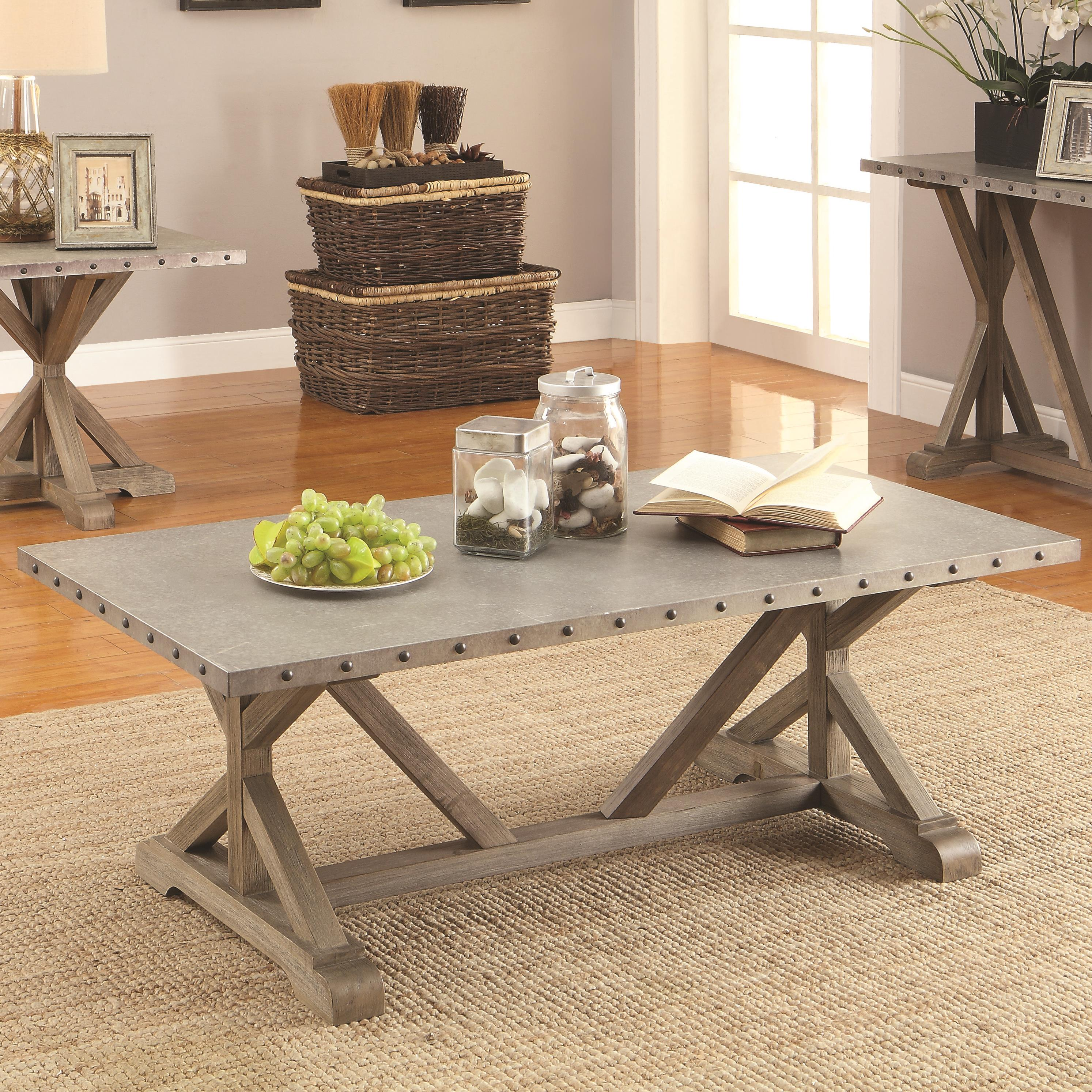 Rectangular Nailhead Trim Coffee Table By Coaster Wolf And Gardiner Wolf Furniture