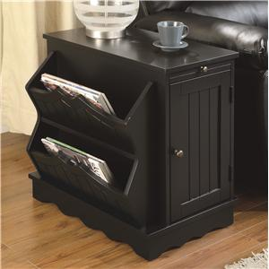 Coaster Accent Cabinets Black Cabinet Table with Magazine Racke