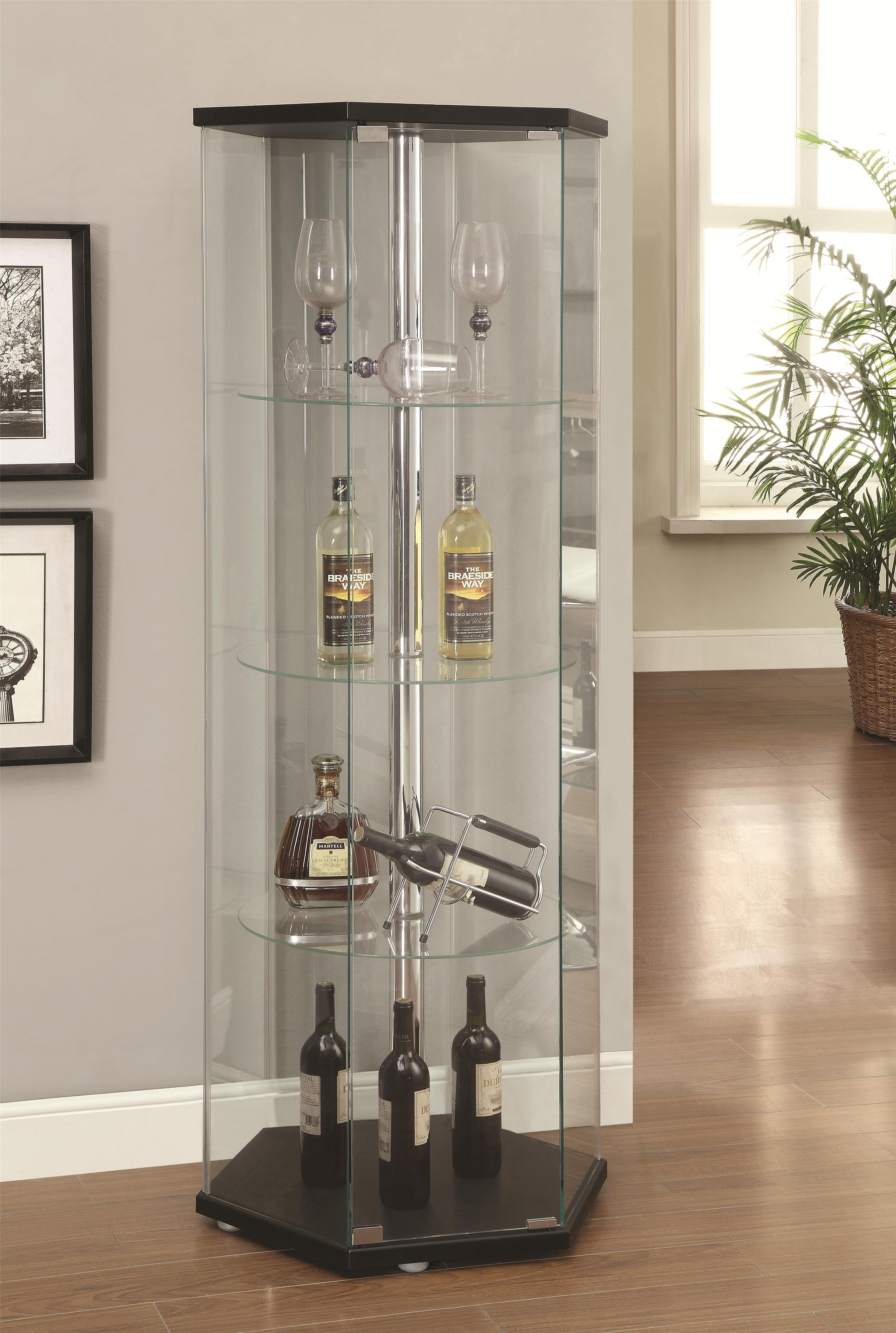 Corner Kitchen Curio Cabinet Hexagon Shaped Curio Cabinet By Coaster Wolf And Gardiner Wolf