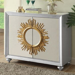 Mirrored Accent Cabinet with Sun Design