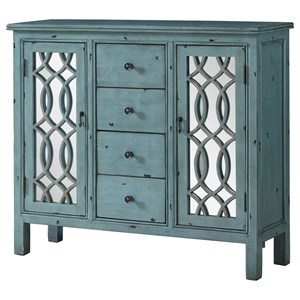 Antique Blue Accent Table with Inlay Door Design