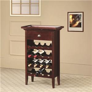 Coaster Accent Racks Wine Rack with Serving Tray