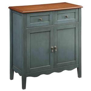 Wine Cabinet with 2 Drawers and Scalloped Apron