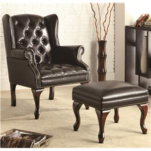 Coaster Accent Seating Chair and Ottoman