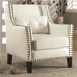 Transitional Wing Chair with Nail Heads