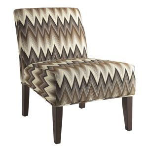 Upholstered Parsons Chair with Chevron Pattern