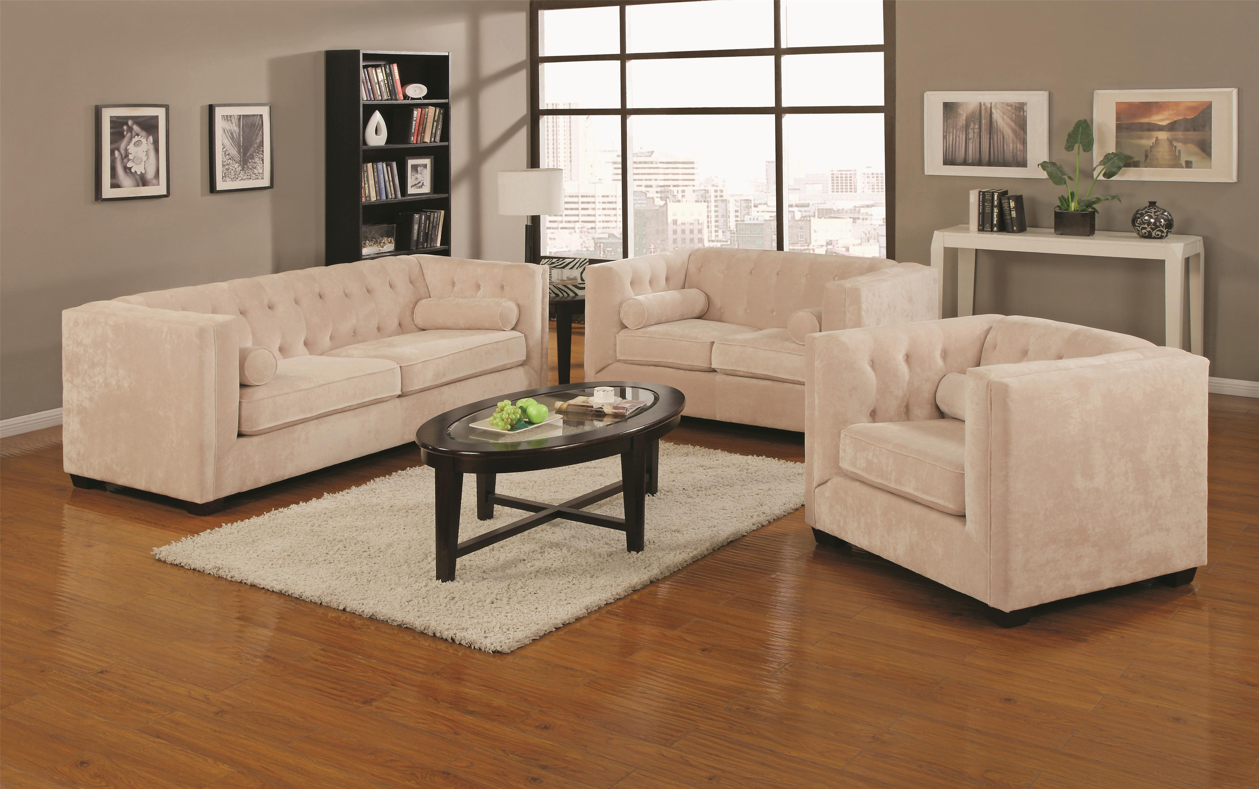 Alexis Transitional Warm Almond Chesterfield Sofa with Track Arm