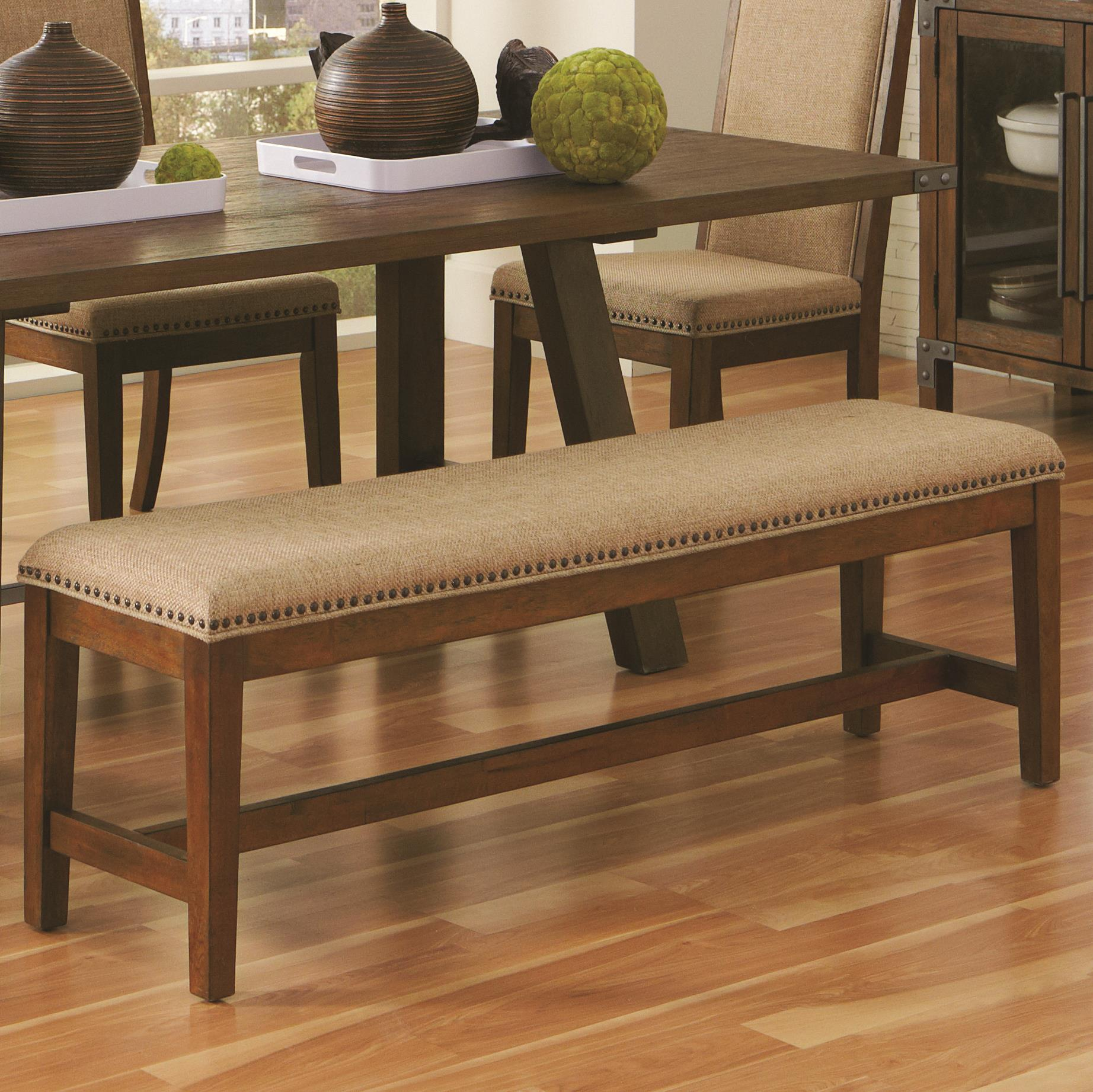 industrial upholstered dining bench with nail head trim