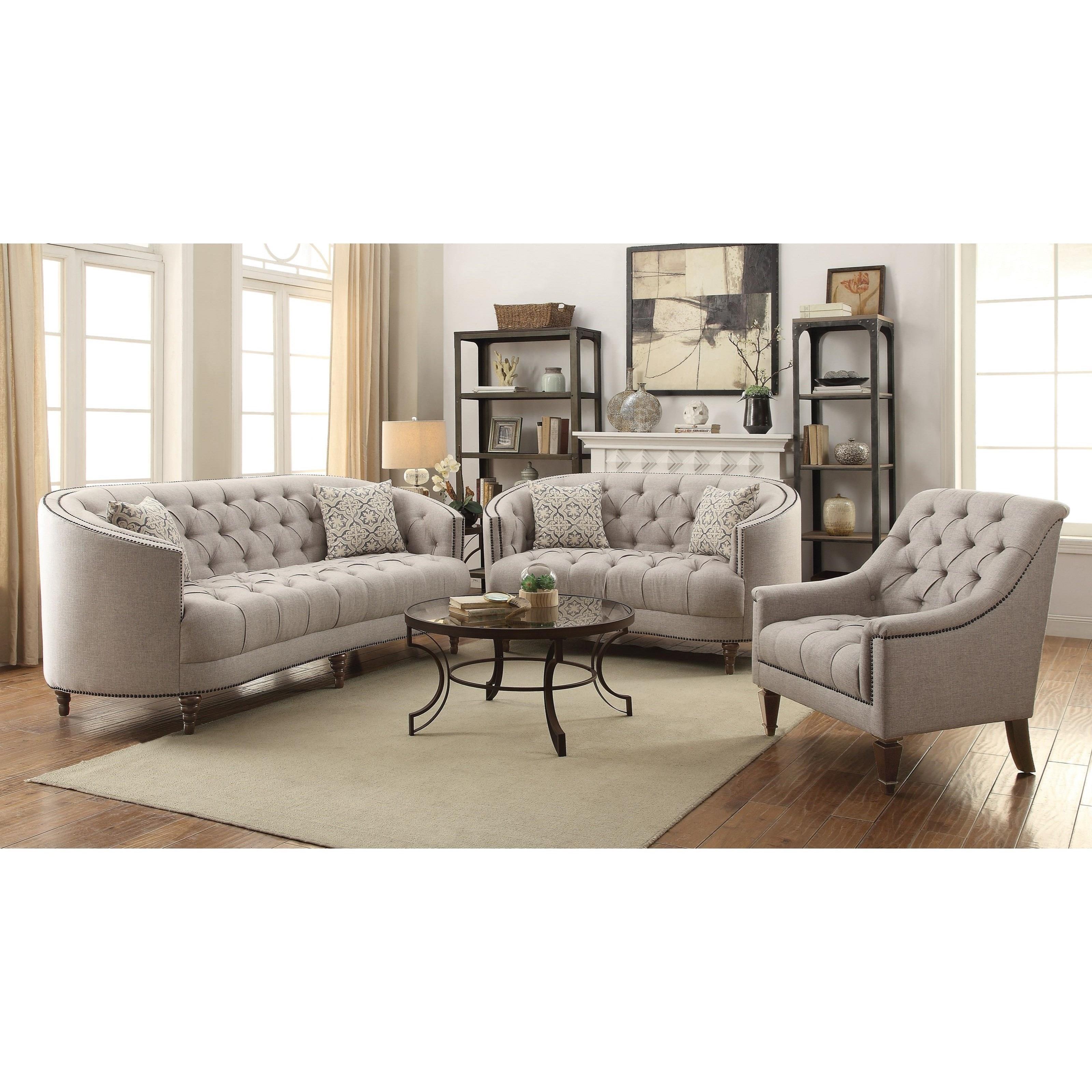 C Shaped Loveseat With Button Tufting And Nailhead Trim