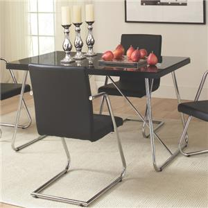 Rectangle Dining Table with Tempered Glass Top
