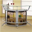 Coaster Bar Units and Bar Tables Contemporary Silver Metal Bar Unit with Glass Top - Bar Units Shown in a Group of 3: Use as Many as You Like to Fit Your Space