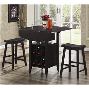 Coaster Bar Units and Bar Tables 3PC Set