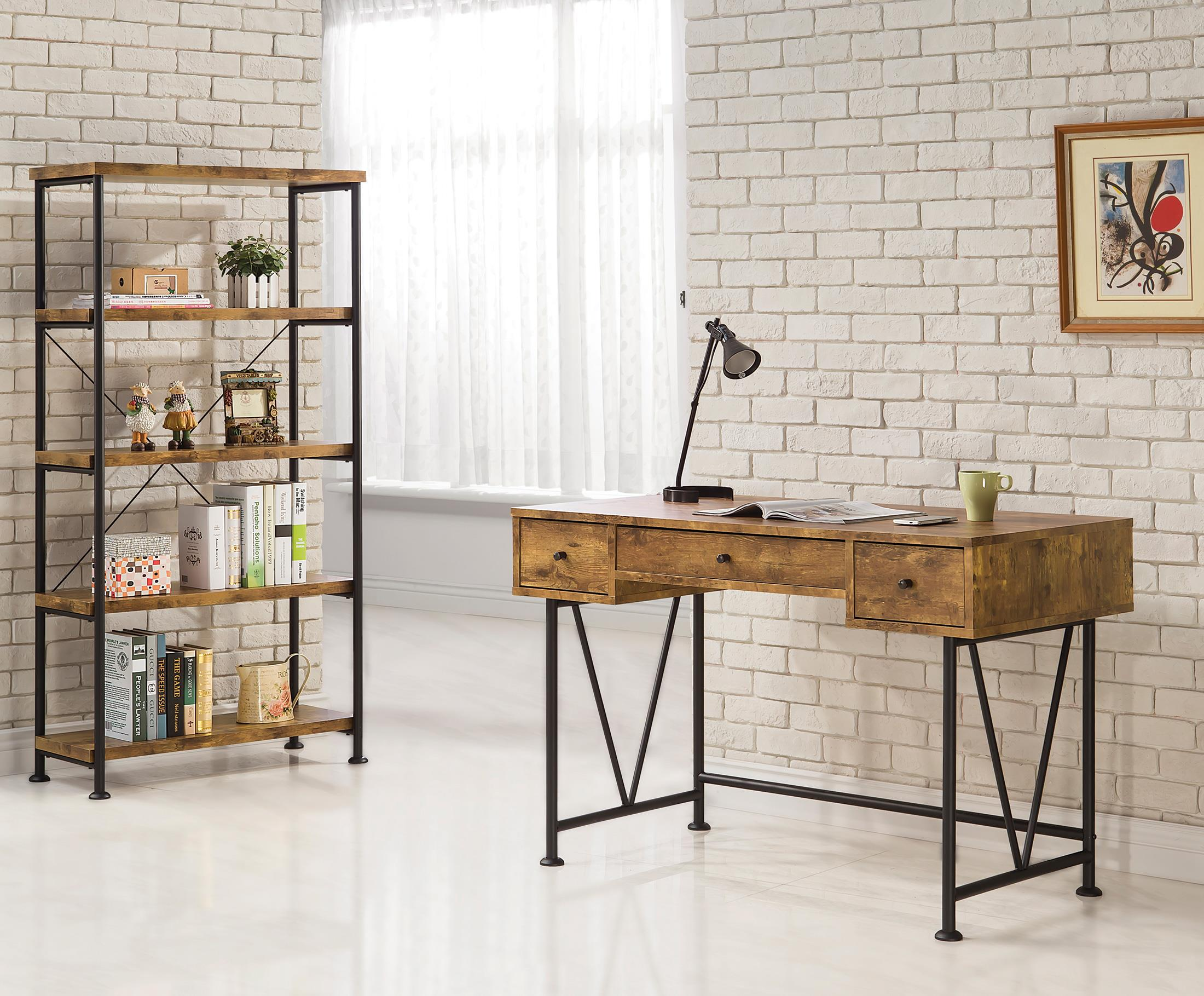 Industrial Style Writing Desk with 3 Drawers by Coaster | Wolf and ...