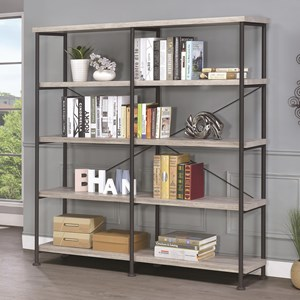 Large Wood and Metal Open Bookcase