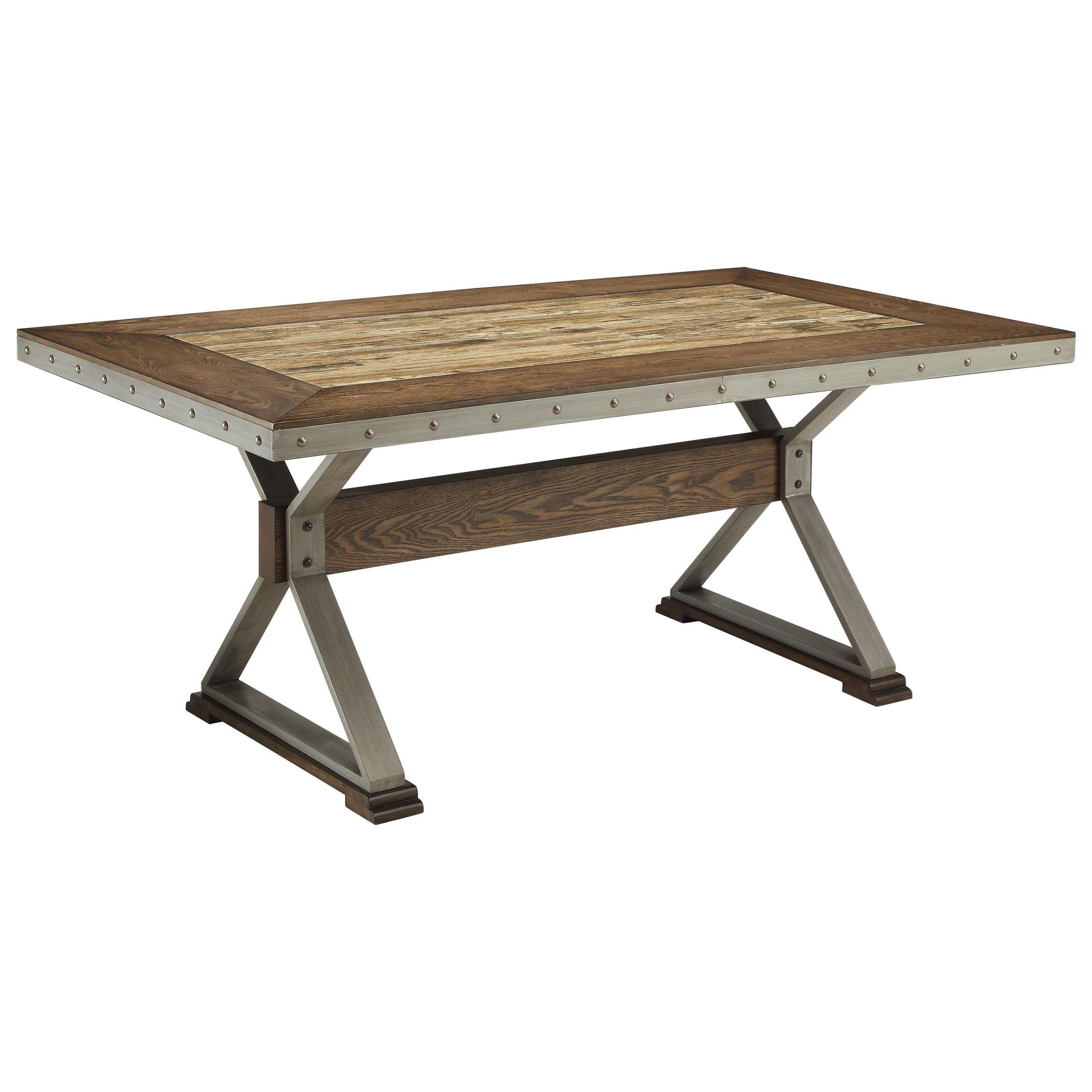 rectangular rustic dining table with ceramic tile top by coaster