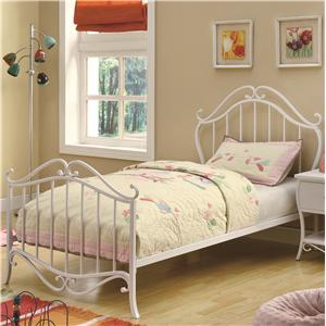 Twin Youth Bed in White Metal