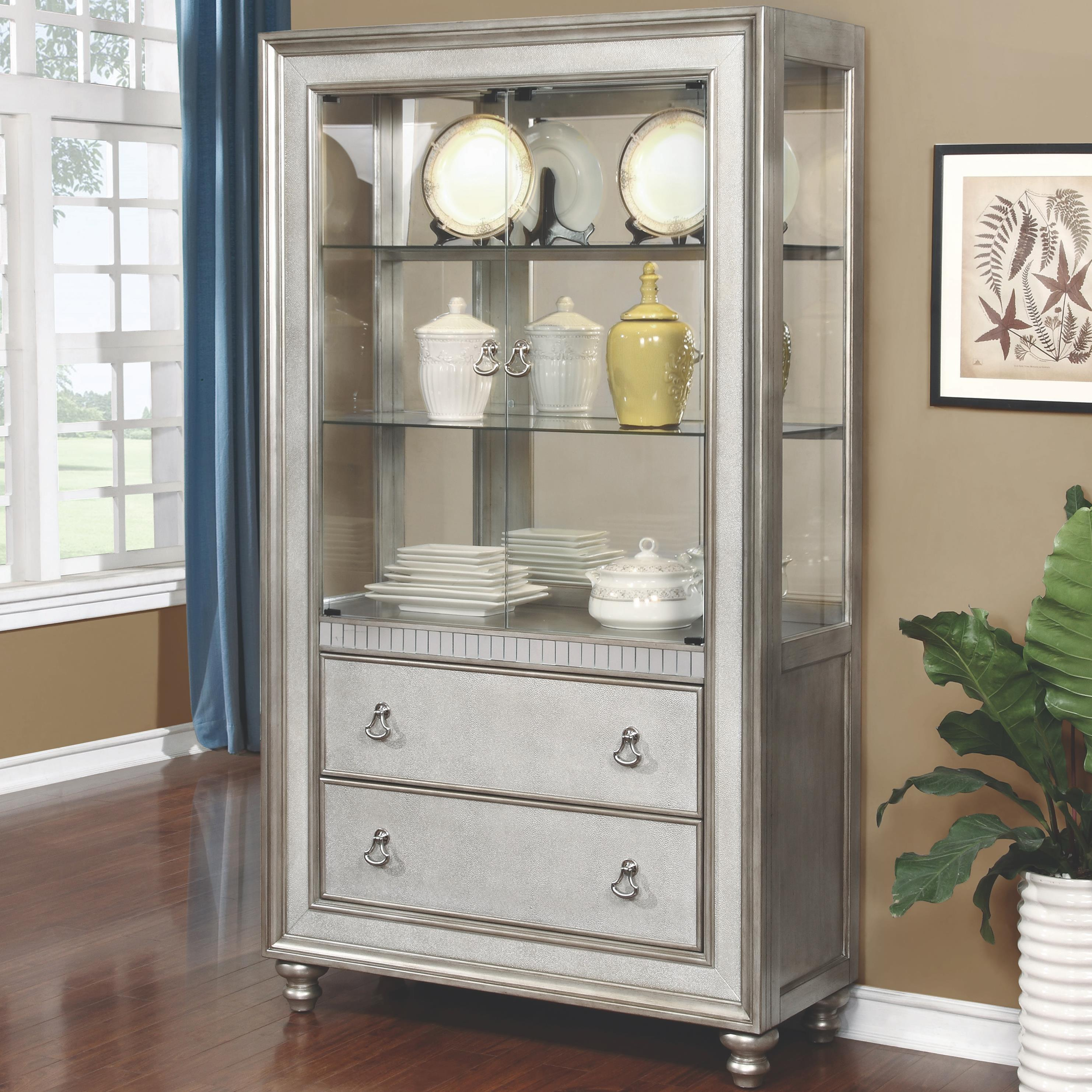 curio cabinet with 3 shelves and 2 drawers by coaster wolf and