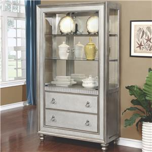 Curio Cabinet with 3 Shelves and 2 Drawers