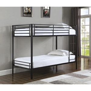 Contemporary Metal Twin Over Twin Bunk Bed