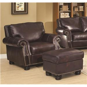 Coaster Briscoe by Coaster 100% Leather Chair and Ottoman Set
