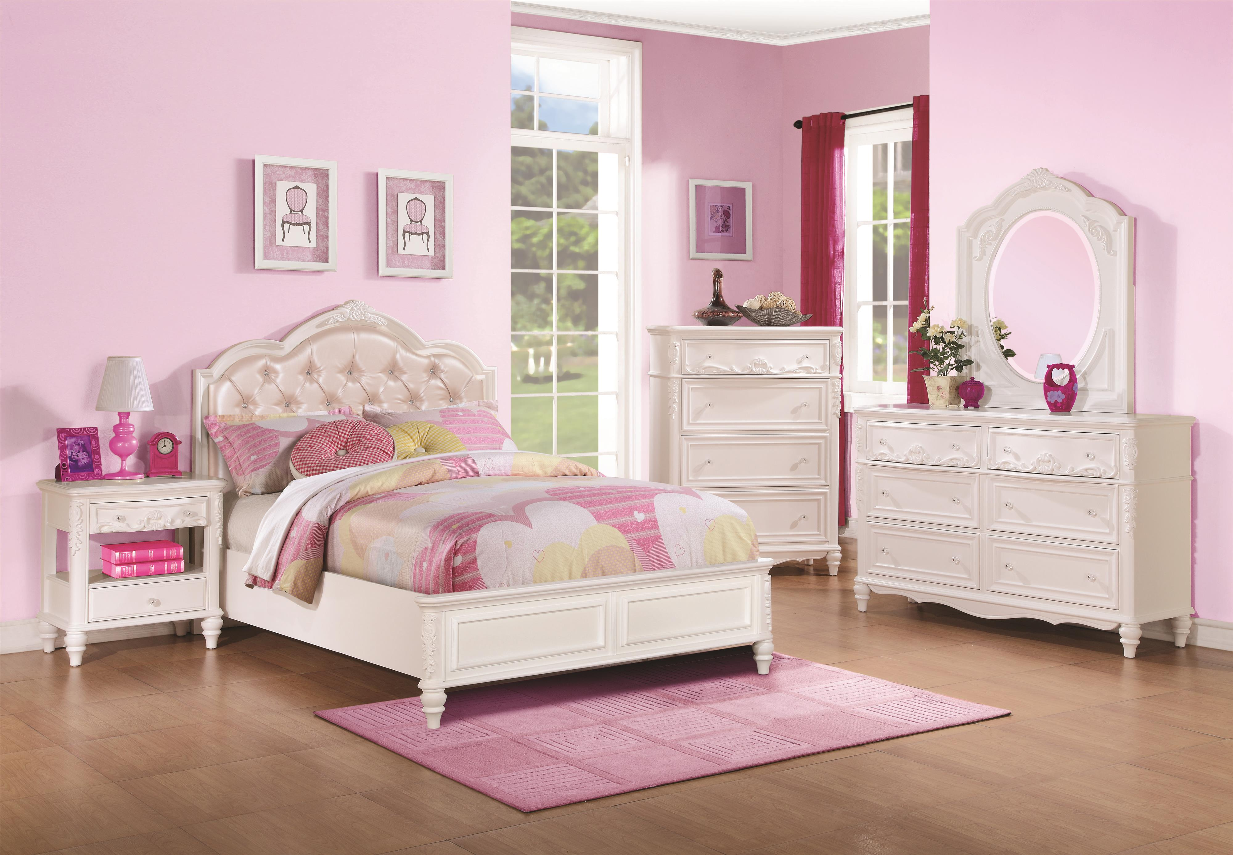 Twin Size Bed and Diamond Tufted Headboard by Coaster