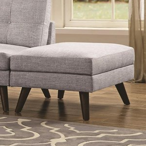 Mid-Century Modern Ottoman with Tapered Wooden Legs