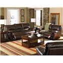 Coaster Clifford Brown Leather Double Reclining Sofa - Shown with Love Seat and Chair