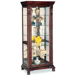 6 Shelf Rectangular Curio Cabinet with Ornate Edges & Decorative Feet