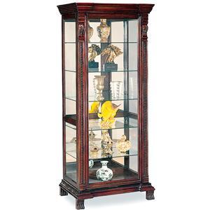6 Shelf Rectangular Curio Cabinet with Ornate Edges & Decorative Feet