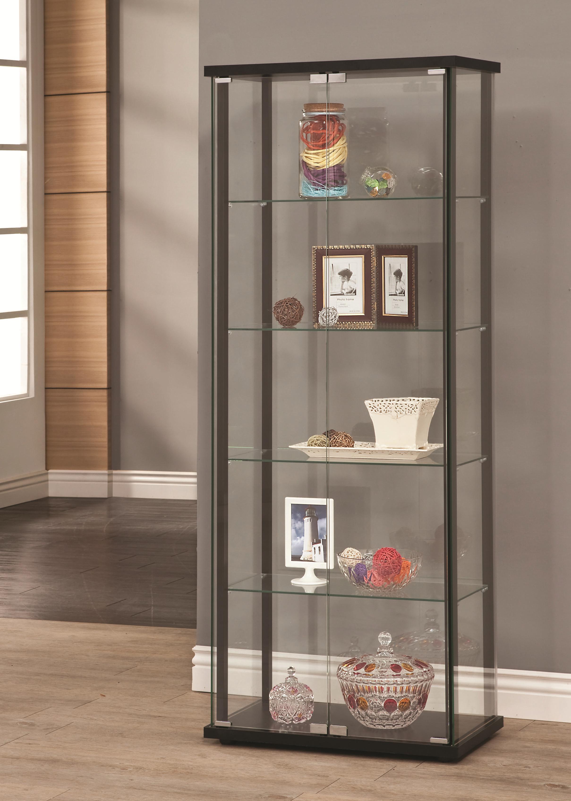 Superieur 5 Shelf Contemporary Glass Curio Cabinet