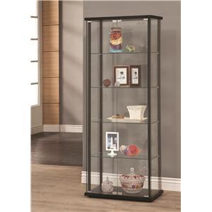 5 Shelf Contemporary Glass Curio Cabinet