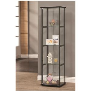 4 Shelf Contemporary Glass Curio Cabinet