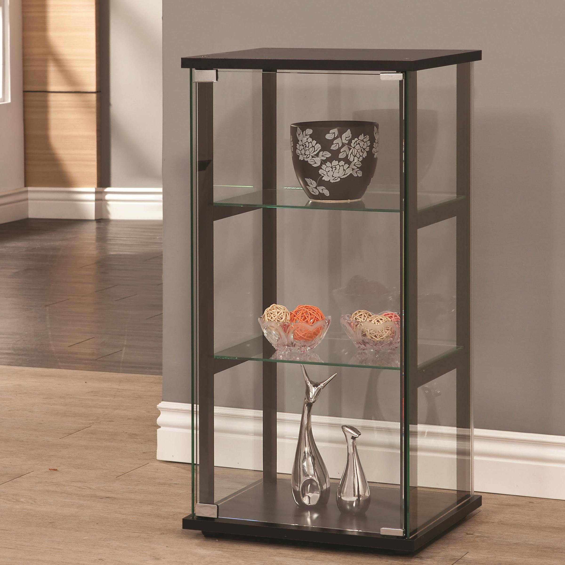 Incroyable 3 Shelf Contemporary Glass Curio Cabinet