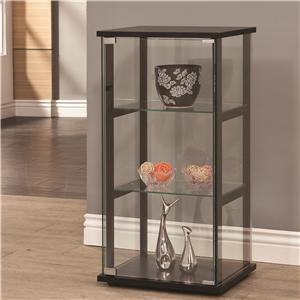 3 Shelf Contemporary Glass Curio Cabinet
