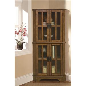 4 Shelf Corner Curio Cabinet with Windowpane-Style Door Fronts