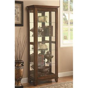 5 Shelf Curio Cabinet with Warm Brown Finish & Mirrored Back