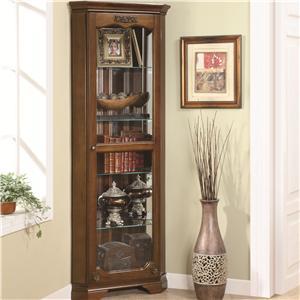 5 Shelf Corner Curio with 1 Door & Acanthus Leaf Top