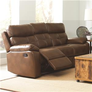 casual faux leather reclining sofa with button tuft detailing