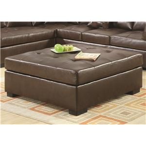 Leather Cocktail Ottoman with Tufting