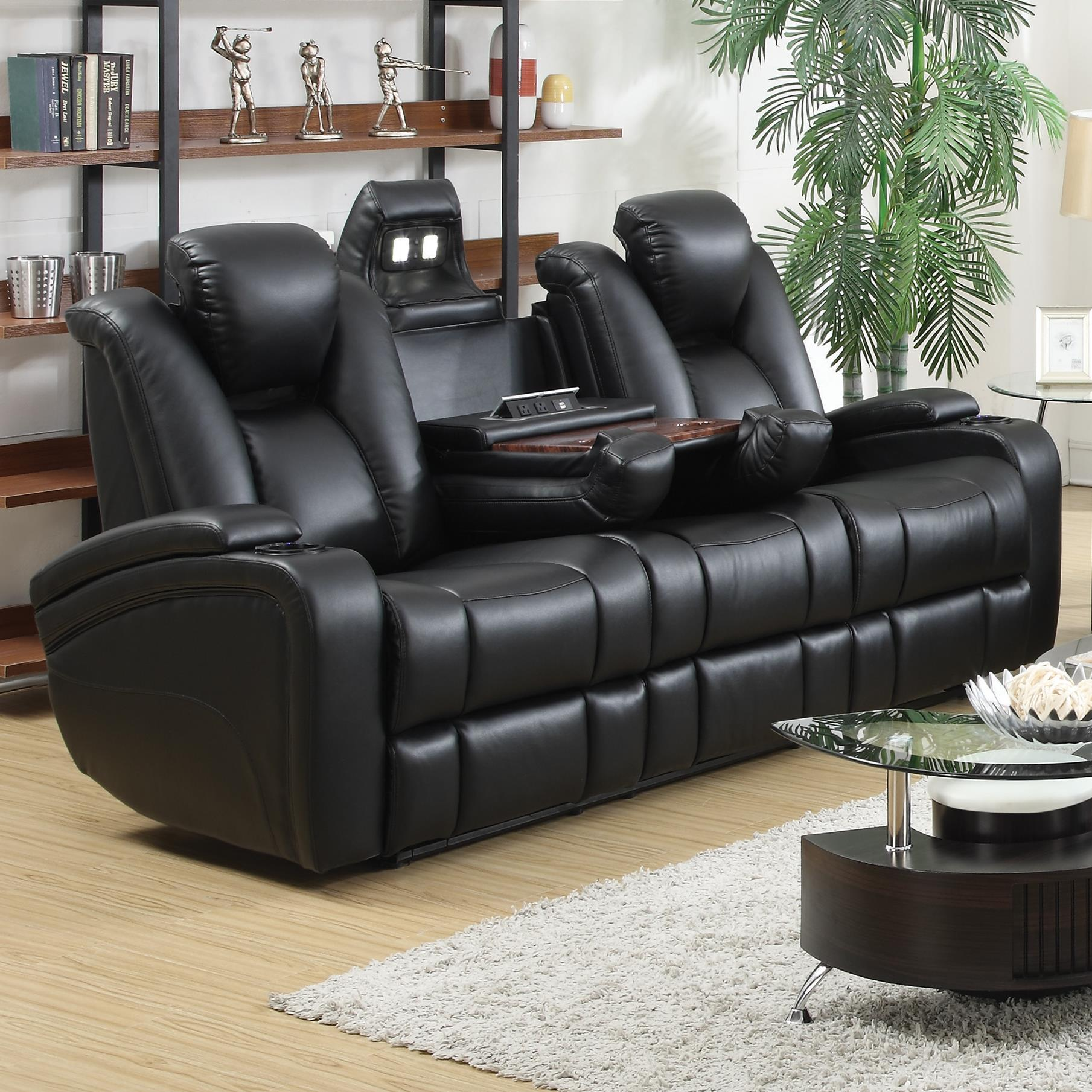 Reclining Power Sofa with Adjustable Headrests & Storage in