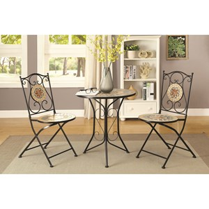 3 Piece Dining Set with Mosaic Tile Pattern