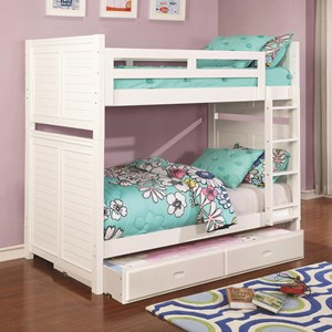 Louvered White Twin over Twin Bunk Bed